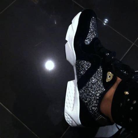 shoes trainers glitter black grey rihanna gold