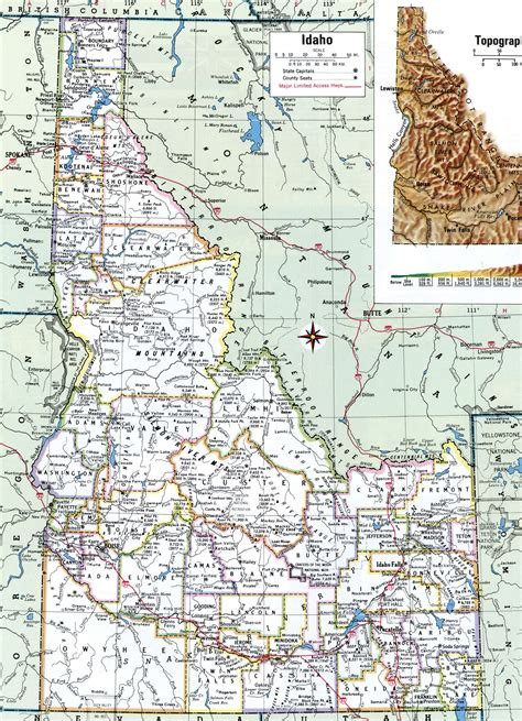printable idaho road map idaho map with counties and cities map