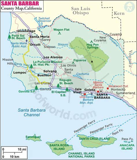 california map near santa barbara map of santa barbara california california map