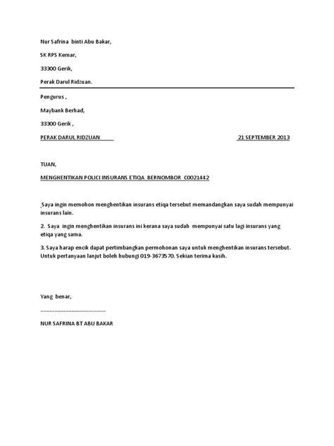surat pembatalan polisi insurans docshare tips