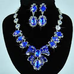 Cheap U Desk Blue Rhinestone Multi Sapphire Wedding Necklace Earrings
