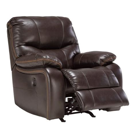 faux leather recliner ashley pranas faux leather rocker recliner in brindle