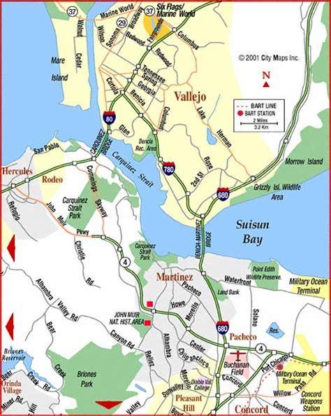 san francisco vallejo map road map of vallejo martinez vallejo california