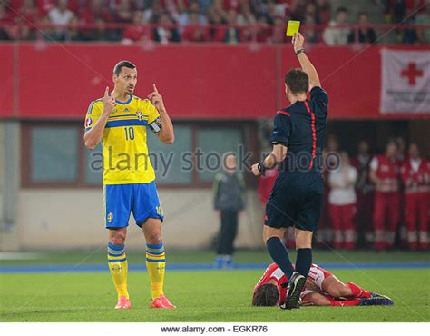 ibrahimovic tattoo yellow card soccer referee stadium stock photos soccer referee