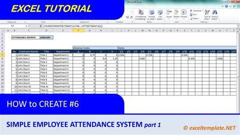 how to create a template in excel how to create a simple excel employee attendance tracker
