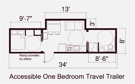 floor plan of fema one bedroon trailer