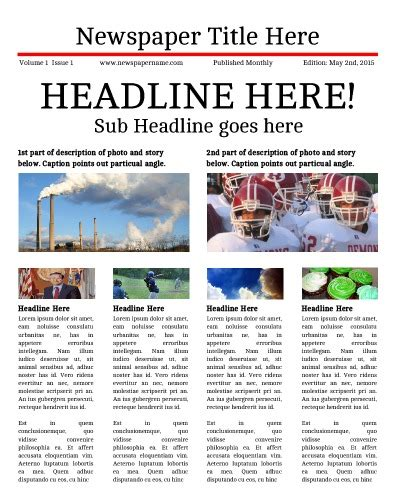 Free Newsletter Templates Print And Digital Makemynewspaper Com Free News Bulletin Templates