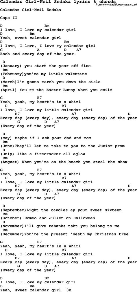 Calendar Lyrics Song Lyrics For Calendar Neil Sedaka With Chords