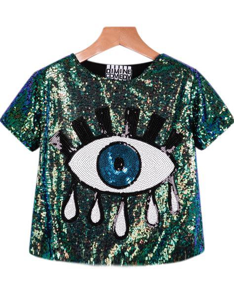 eye pattern shirt sequined eye pattern t shirtfor women romwe