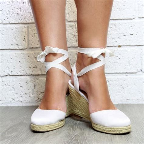 ladies white espadrille wedge heeled sandals white heels