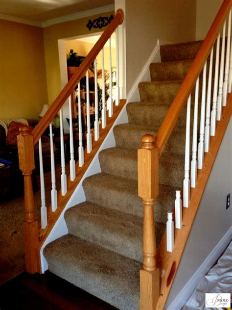 stair banister installation iron stair installation replaced wood re stained railing