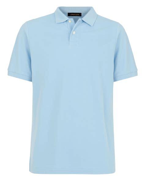 light blue polo shirt jaeger plain polo regular fit polo shirt in blue for men