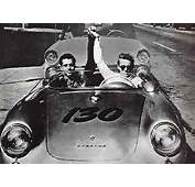 James Dean Driving His New Porsche With Mechanic Rolf Wutherich On