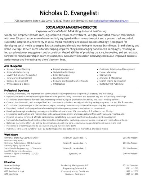 nicholas evangelisti social media marketing director resume images frompo