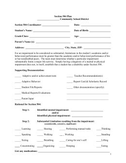 Section 504 Plan 504 Plan Template 2