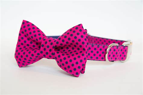 bow tie collars bowtie collar pink navy polka dot pecan pie puppies