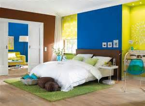 juicy lime blue and brown color combination for interior