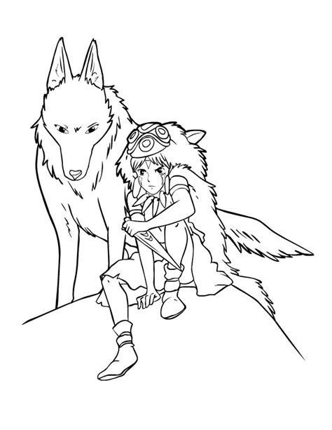 princess mononoke coloring pages for kids pinterest