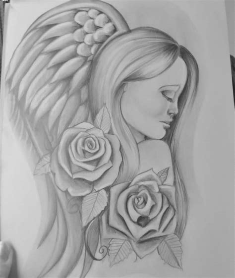 Angel With Roses Tattoo Drawing Page   Tattooshunter.com