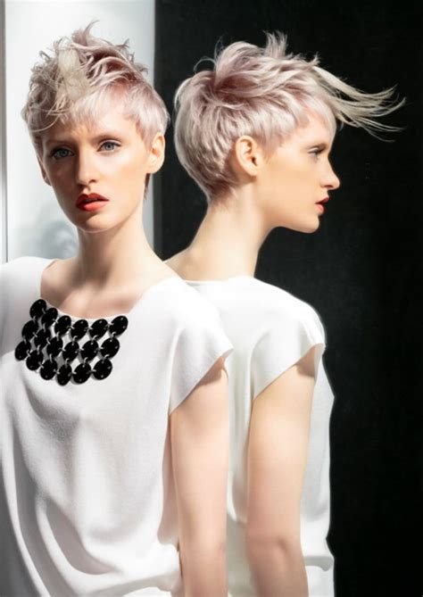 short hairstyle  silver metallic  lilac colors