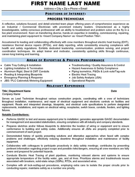 Construction Trades Resume Sles Process Technician Resume Sle Template
