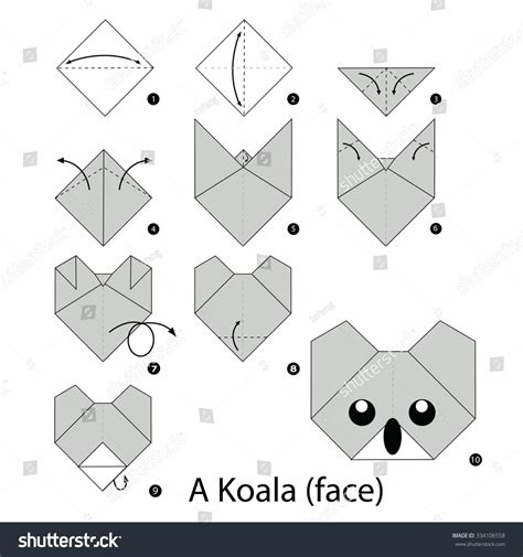 How To Make An Origami Koala - step by step how make stock vector 334106558
