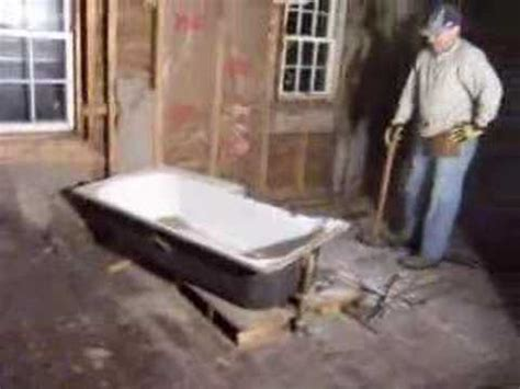 how to remove cast iron bathtub day 37 house rehab break up remove cast iron tub