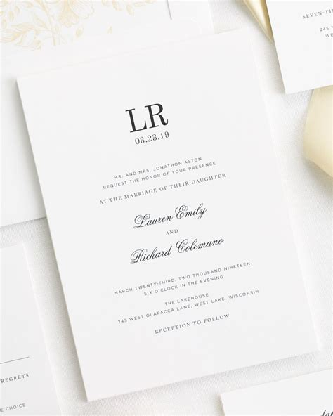 monogram wedding invitations timeless monogram ribbon wedding invitations ribbon