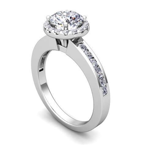 halo engagement ring in platinum channel set ring 5mm