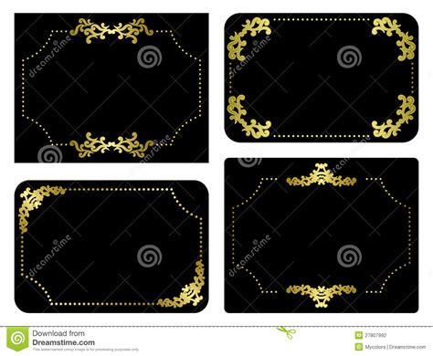 Set Perhiasan Black Gold vector black and gold frames set stock photography image 27807992