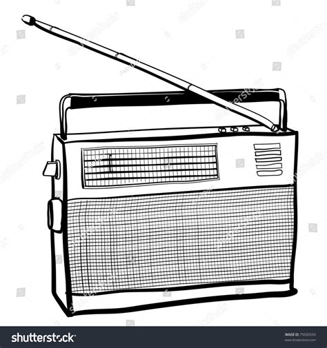 sketchbook radio sketch vintage radio receiver stock vector 75030550