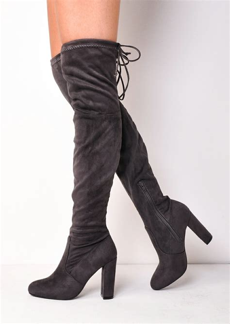 thigh high tie back faux suede knee high heeled boots grey