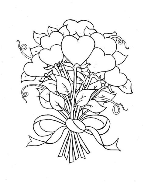 free bouquet of roses coloring pages