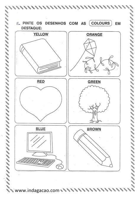 Avaliação de Inglês 1º ano envolvendo numerais e as cores