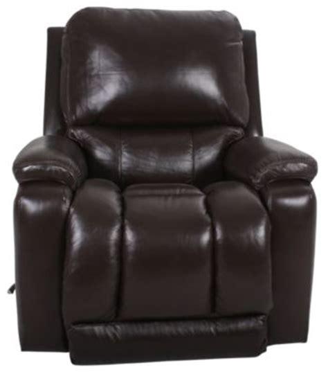 la z boy rocker recliner leather la z boy greyson brown 100 leather rocker recliner