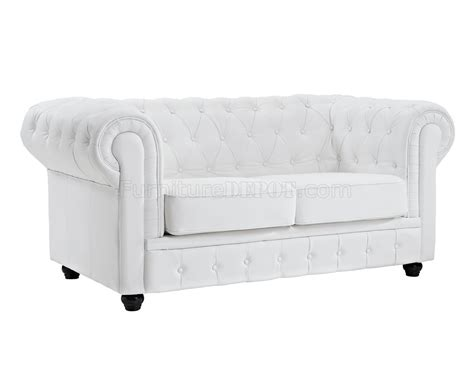 Chesterfield Sofa White Leather Chesterfield Sofa In White Leather By Modway W Options