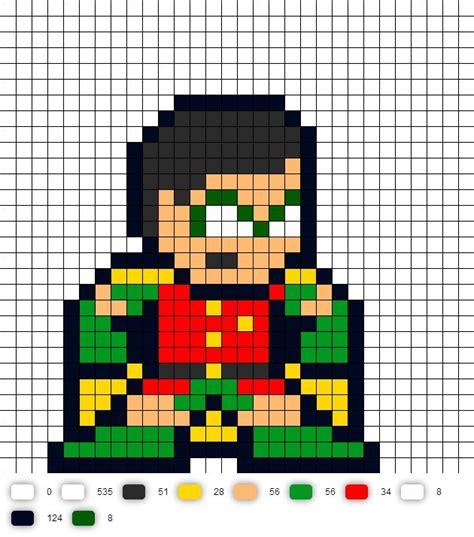 bit pattern in c robin teen titans perler bead pattern dc comics