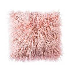 Classy Shower Curtains - soft pink faux fur fluffy throw pillow cover