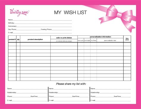 can you do your wedding registry list to give to your spouse parents etc plus you can do