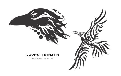 raven tribal tattoo ringerike norse design by twistedstrokes