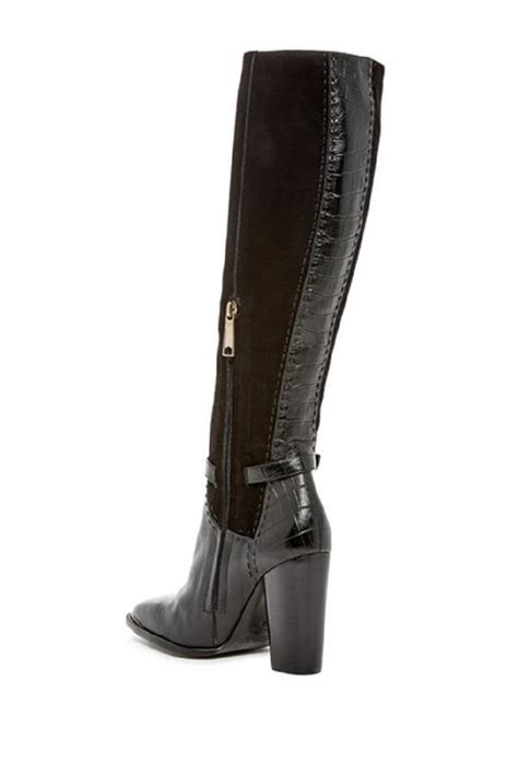 On Our Radar Zoes 5 Must Shoes by Zoe Black Brin Croc Embossed Suede Leather Boots