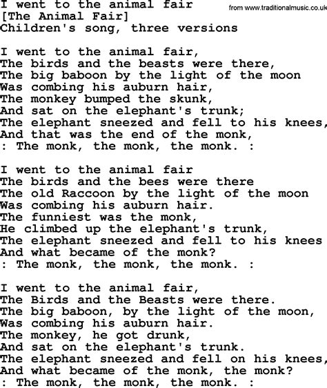 song in american song lyrics for i went to the animal fair
