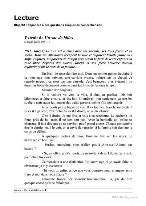 Un sac de billes (extraits) de Joseph Joffo fiche d