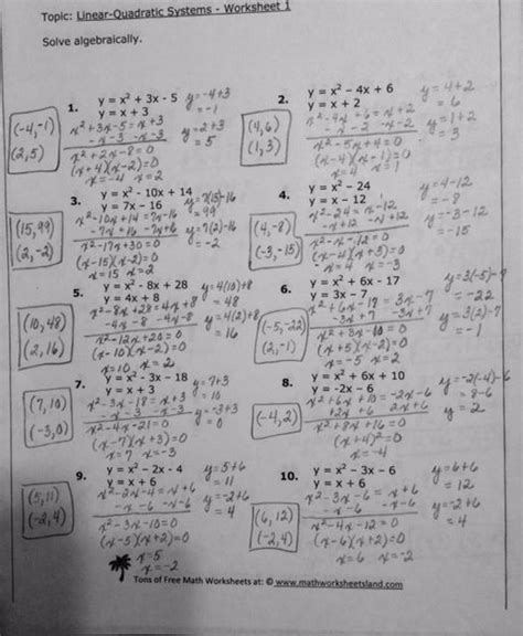 Linear Quadratic Systems Worksheet by 28 Solving Systems Of Linear And Quadratic Equations
