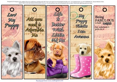 printable puppy bookmarks 5 very cute puppy bookmarks 3 cup787122 986 craftsuprint