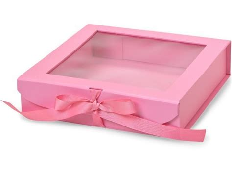 gift box with window lid pink clear lid clear window paper gift box with ribbon