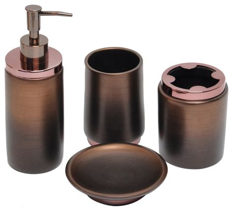 rubbed bronze bath accessory 4 set