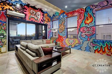 graffiti living room design colourful apartment indoor graffiti lounge room ideas photography by ct creative