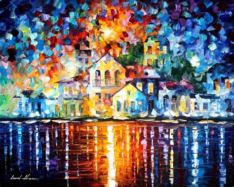 paint styles sleepy harbor palette knife oil painting on canvas by