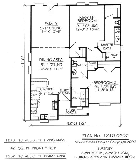 2 Bedroom 1 Bathroom House Plans 2 Bedroom 2 Bath One Story Two Bedroom House Plans